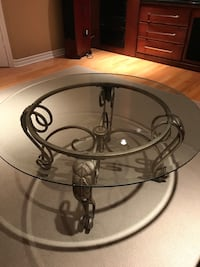 round black metal base glass top table Kirkland, H9H 5E3