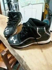 pair of black-and-white Nike basketball shoes Moline