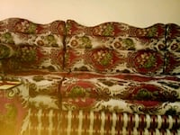 white and red floral fabric 3-seat sofa Aurora, 80010