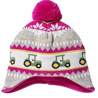 New John Deere Toddler Pink Knit Hat with Tractors and Pom Stanley