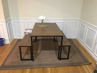 Barely used rectangular brown wooden table with bench seats Boston, 02110