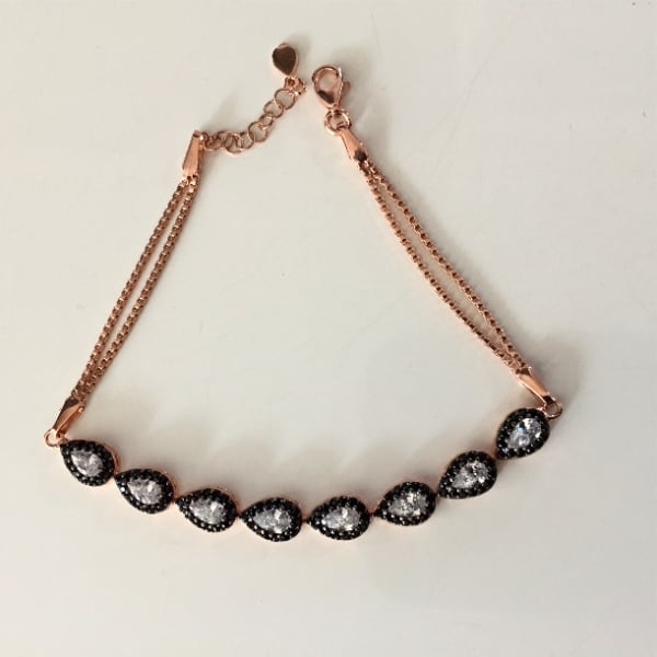 Sterling silver bracelet with rose gold plated