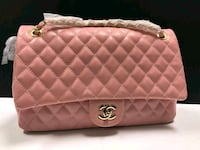 quilted pink Chanel leather crossbody bag 1496 mi