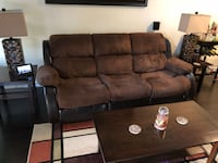 Brown micro suede  leather 3-seat recliner sofa and loveseat Gretna, 70056