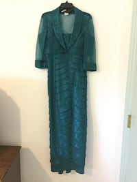Teal long sleeve formal with jacket.  Cove, 77523