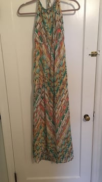 brown and green sleeveless dress size M