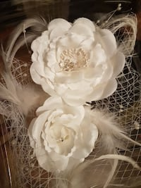 white Rose flower with feathers hair accessory