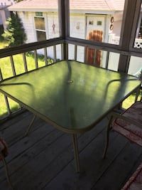 Porch/patio set: 1 metal and glass table, 4 metal chairs, 4 red and white sets of chair cushions Quincy, 02169