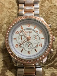 BREDA STEEL BLING CHRONOMETER WATCH WHITE FACE BLING SURROUNDING Edmonton, T5T