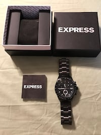 Black strap express analog chronograph watch with box