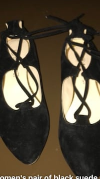 pair of black leather ankle strap sandals 793 km