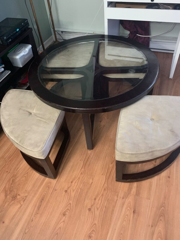 Coffee table with stools underneath 5b9b80d1-a2e2-44b9-b088-6ecdd39a3eae