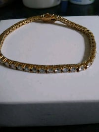 Gold over sterling silver diamonds braclet