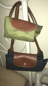Green and graphite blue leather tote bag