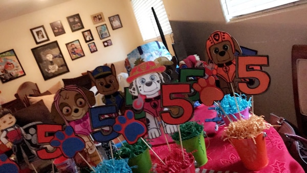 8 Paw Patrol Centerpices I made them all, I will be happy to negotiate a fair price.