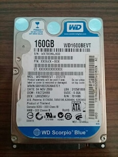 160GB Western Digital dahili sabit disk sürü
