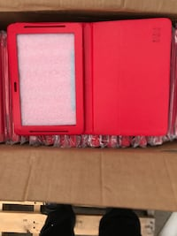 Two red and white plastic cases