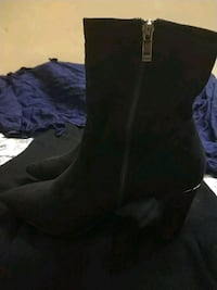 pair of black suede side-zipped pointed toe chunky heeled boots Gurugram, 122001