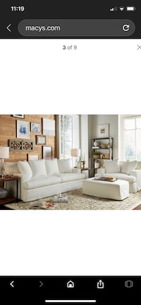 Macys Brenalee pearl slip covered sofa, chair and a half and ottoman