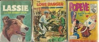 """3 WHITMAN Little Books - Popeye - Lone Ranger Lassie  - books are 3 1/2"""" x 5""""  Titles: -  POPEYE and Queen Olive Oyl - A Big Little Book Classic WHITMAN  - The Lone Ranger Outwits Crazt Cougar (poor shape - great pics)  -  Lassie and The Shabby Sheik - 19 Newmarket"""