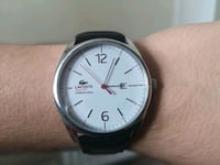 round silver-colored analog watch with black leather strap Edgware, NW9 6EU