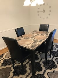 Rectangular faux marble table with four chairs dining set Columbia, 21045