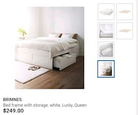 White Ikea Queen size bed with drawers Lyons
