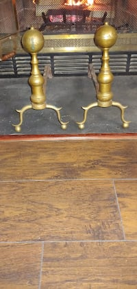 Antique brass and wrought iron andirons or firedogs Chesapeake