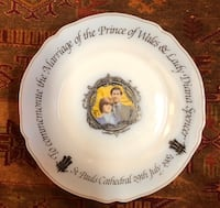Princess Diana & Prince Milk Glass Plate In memorial of the royal wedding ,England 1981 Vaughan, L4K 1Z8