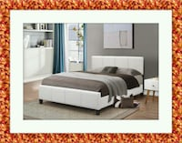 White platform bed mattress box delivery all size  Temple Hills