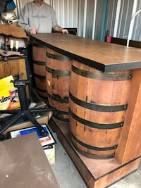 Barrel bar and table with stools and chairs and hanging light Middletown, 45044