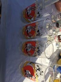 four clear Bugs Bunny print drinking glasses Albuquerque, 87121