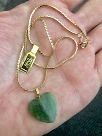 Jade heart pendant and gold filled chain Surrey, V3Z 5K3