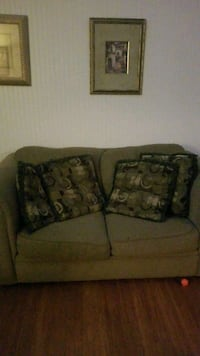 brown fabric 2-seat sofa with throw pillows Suffolk, 23435