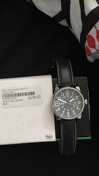 Black leather and silver analog watch Central Okanagan
