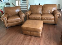 Natuzzi Brown leather 2-seat sofa, sofa chair, and ottoman Glen Rock, 07452