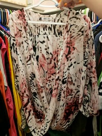 white, red, and black floral cardigan Chandler, 85226