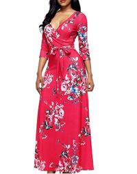 EPIC Holiday Floral Maxi Dress with Belt - Size 14/16