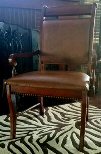 brown wooden framed brown leather padded armchair Fort Worth, 76119