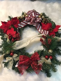 green Christmas wreath with baubles and poinsettia Oshawa, L1G 3C3