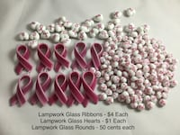 Breast Cancer Ribbon Lampwork Glass Pendants and Beads, see pics for prices Chesapeake, 23320