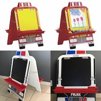 New wooden double-sided Fire engine or Police car kids ECR4kids Easel Phoenix, 85032