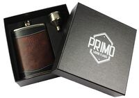 Primo Liquor Flasks 8oz Stainless Steel 18/8#304 Brown/Black PU Leather Premium/Heavy Duty Hip Set - Includes Funnel and Gift Box Los Angeles
