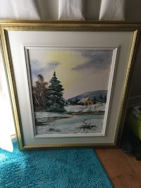 Beautiful oil painting winter scene  of house Laval, H7K 3X8