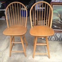 two brown wooden windsor chairs SYOSSET