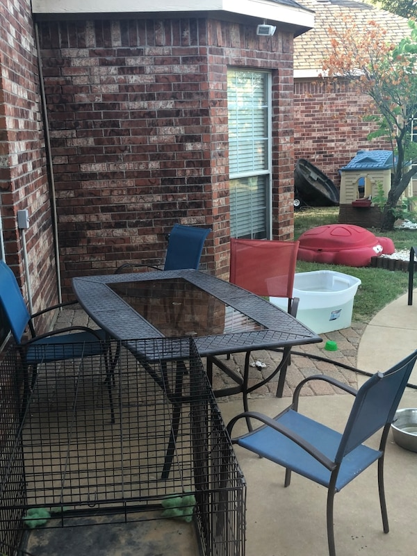 Used Black Metal Framed Glass Top Patio Table Set For Sale In