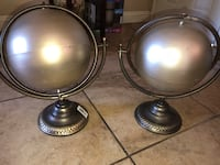 two stainless steel desk globes