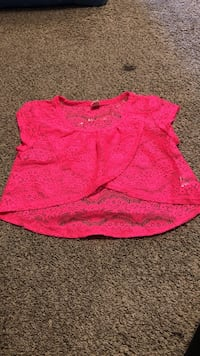 pink lace scoop-neck cap-sleeved blouse Davenport, 52802