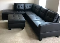 New Black Sofa/Sectional w/Storage Ottoman  Silver Spring