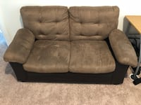 brown and black fabric loveseat Davenport, 33896